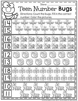 Bug Counting Worksheets for Kindergarten