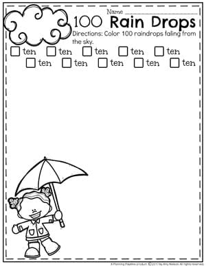 Count to 100 Worksheets for Kids - Counting Raindrops