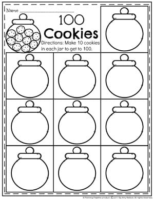 Count to 100 Worksheets for Kindergarten - Make 100 Cookies