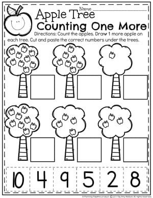 Counting 1 More Worksheets for Kindergarten math.