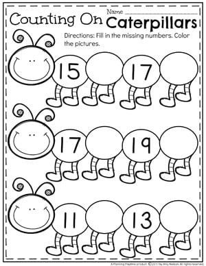 Counting On Teen Number Worksheet For Kindergarten 1 20