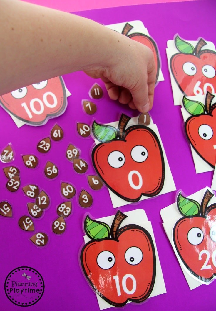 Counting to 100 Apple activity for Kindergarten