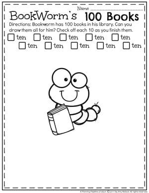 Counting to 100 Worksheets for Kindergarten - Bookworm's 100 Books