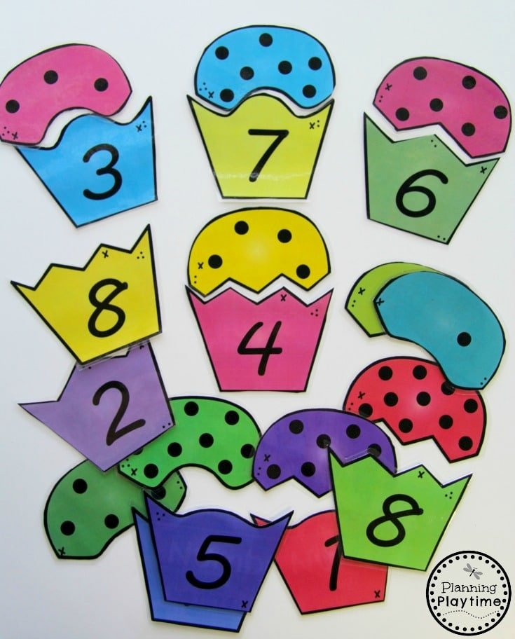 Cupcake Counting Puzzles for kids.
