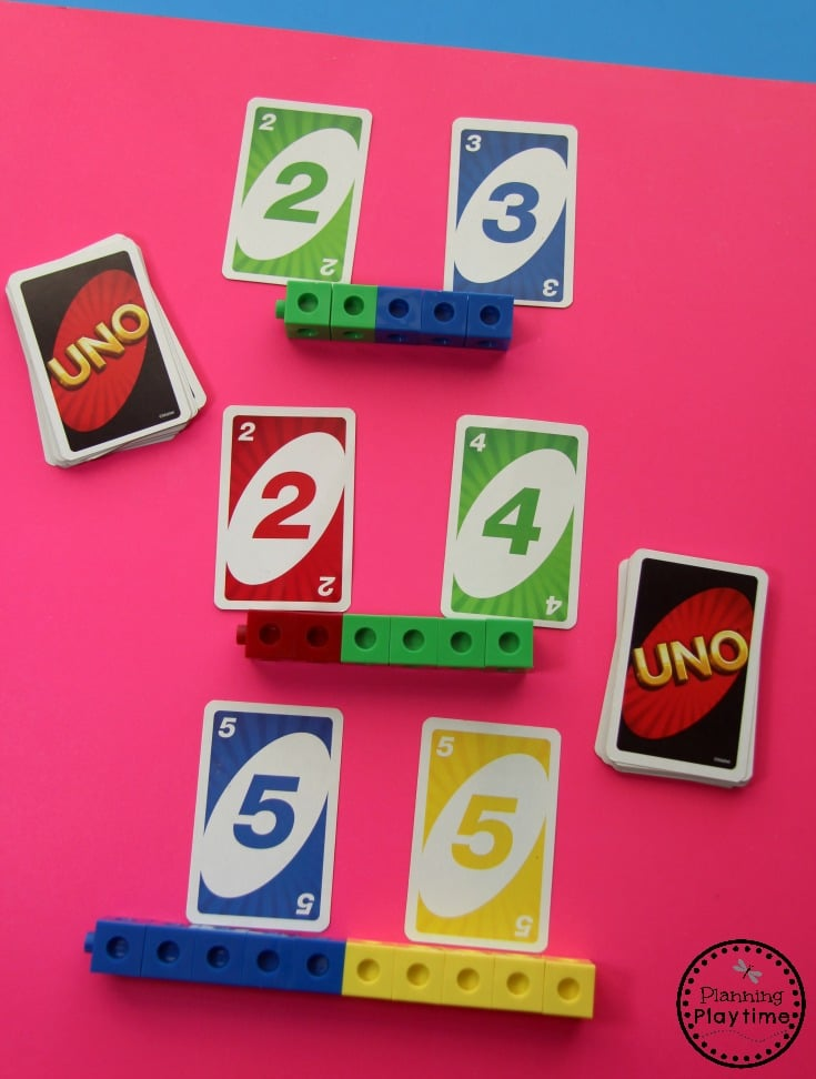 Fun Addition Game for kids. Fun kindergarten math center.