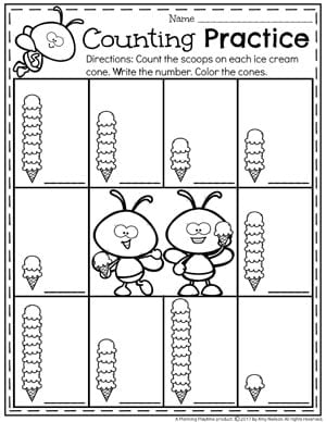 Ice Cream Cone Counting Worksheets for Kindergarten and Preschool