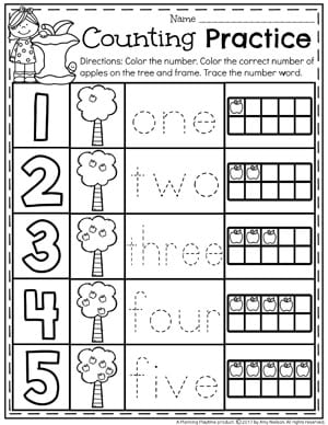 Kindergarten Apple Counting Worksheets 1-5