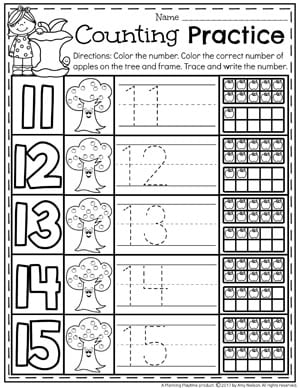 Kindergarten Apple Counting Worksheets 11 15