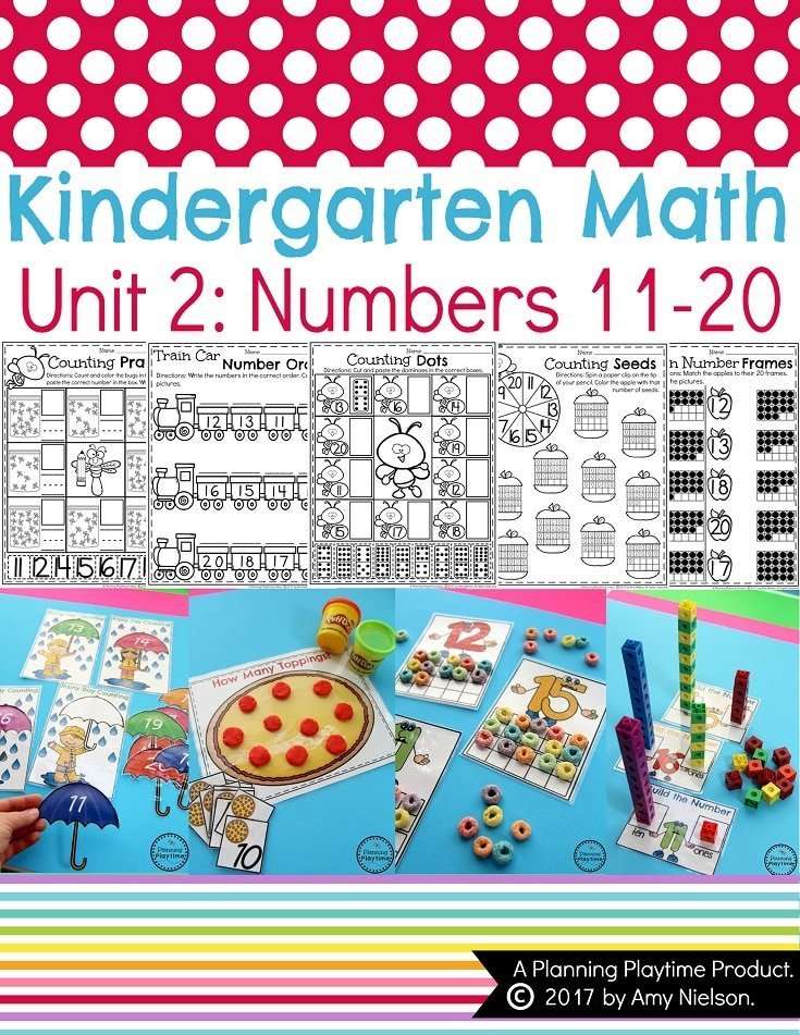 Kindergarten Math centers and Worksheets - Unit 2