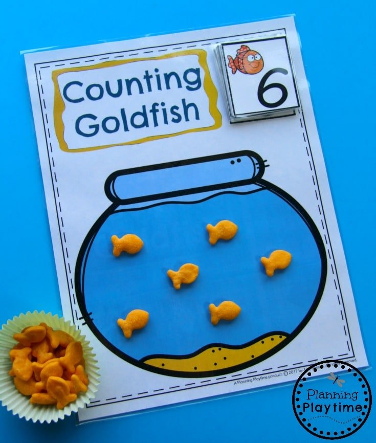 Kindergarten Math Centers - Goldfish Counting Activity.