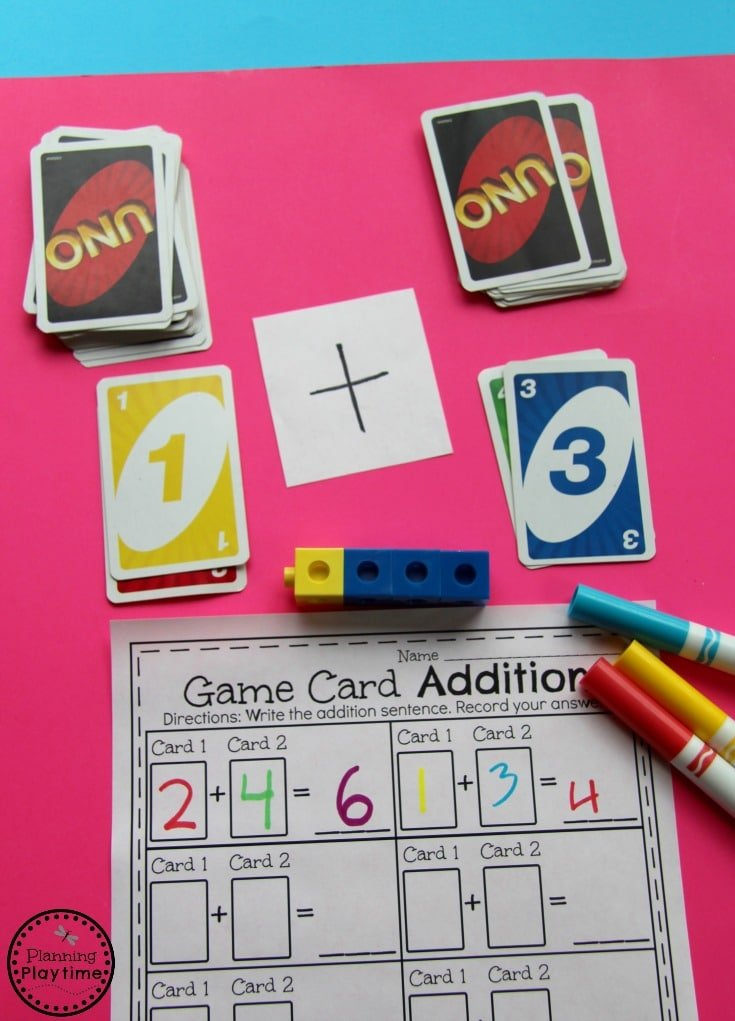 Kindergarten Math Game - Addition with game cards. So fun!