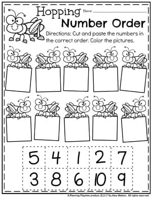 Kindergarten Number Order Worksheets - Hopping Number Order.
