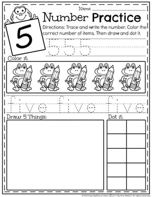 Kindergarten Number Worksheets - Number 5