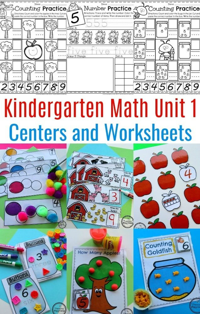 Kindergarten Number Worksheets and Math Centers