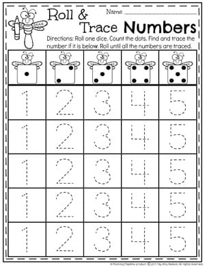 Number Tracing Worksheets for Kindergarten 1-5