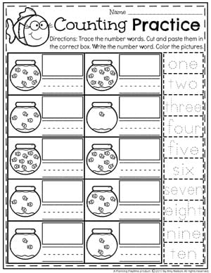 Number Words Worksheet for Kindergarten - Fish Bowl Counting