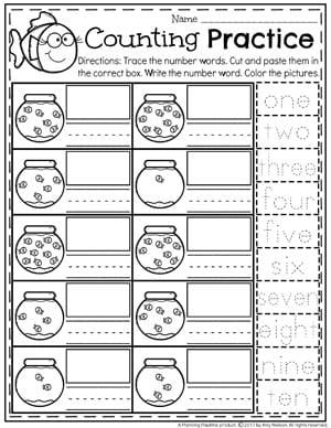 number worksheets  planning playtime  number words worksheet for kindergarten  fish bowl counting