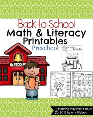 Preschool Math and Literacy Printables - Back to School.