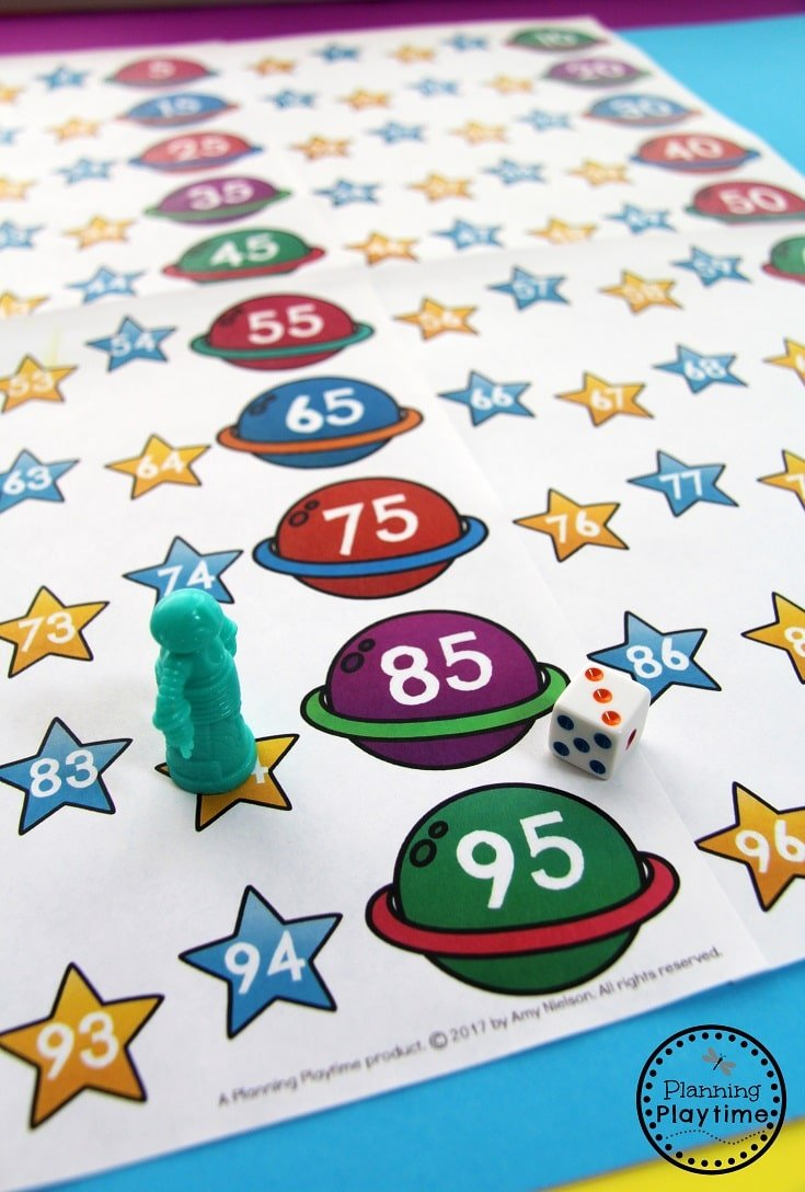 Race in Space Counting to 100 Game for Kindergarten