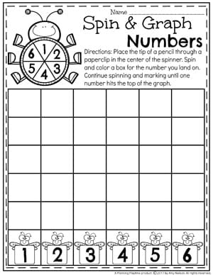 Spin and Graph Number Worksheet for Kindergarten 1-6