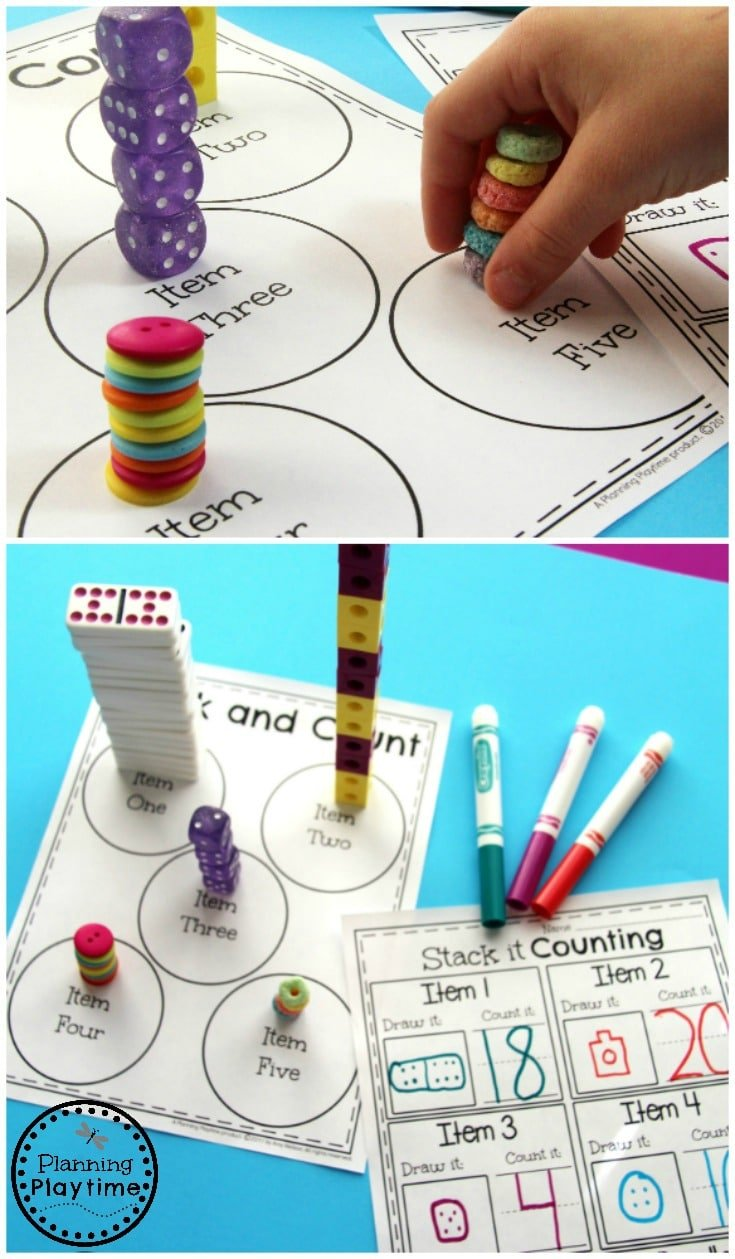 Stack and Count activity for Kindergarten.