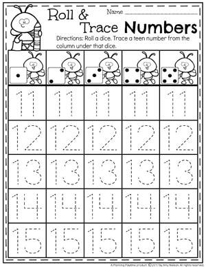 Teen Number Tracing Worksheets for Kindergarten 11-15