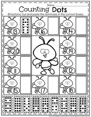 Teen Numbers Counting Worksheets for Kindergarten
