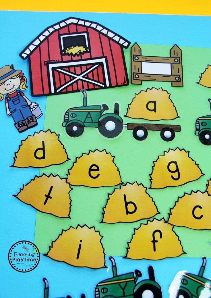 Community Helpers Activities for Preschool - Farmer Hauling Hay alphabet match.