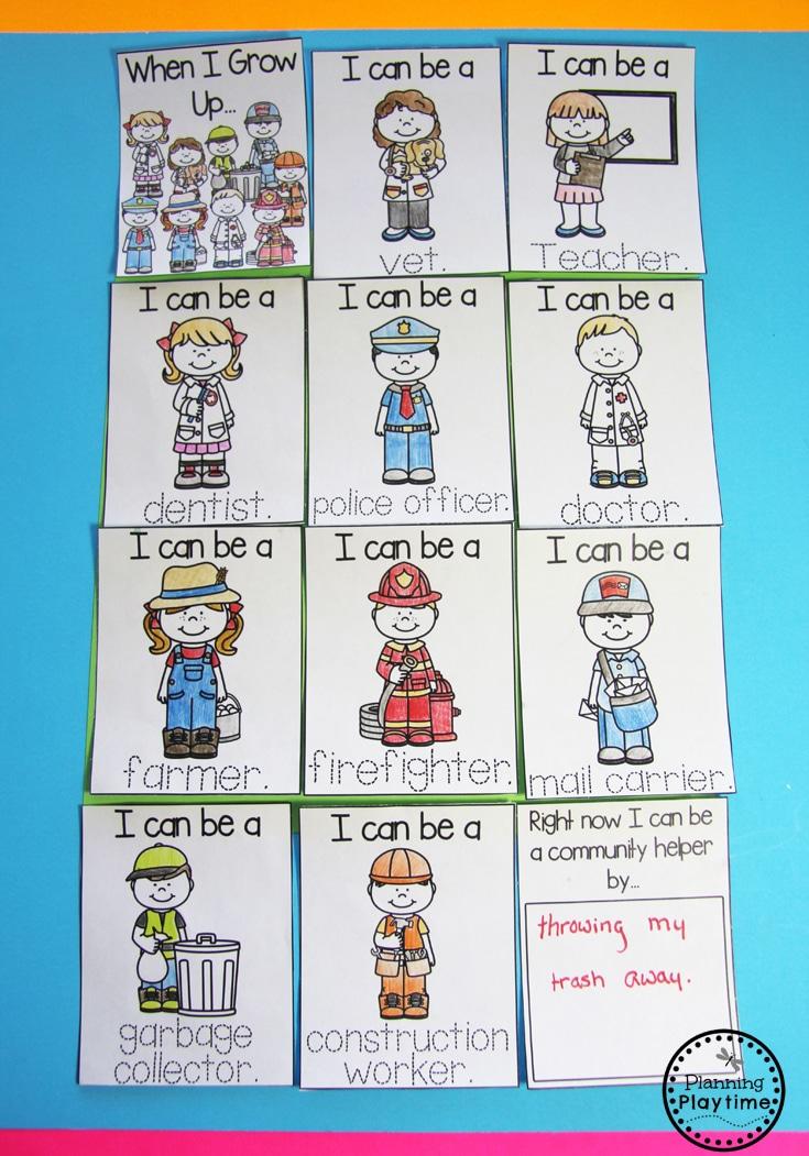 Community Helpers Activities for Preschool - When I Grow Up