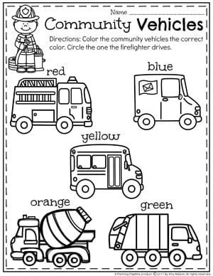 Community Helpers Unit for Preschool - Coloring Community Vehicles