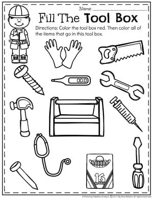 Community Helpers Unit for Preschool - What items go in this tool box sorting worksheet