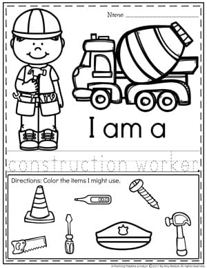 image relating to Memory Community Helpers Free to Printable Coloring Pages named Local Helpers Preschool Concept - Building Playtime