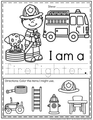 Community Helpers Worksheets - Firefighter