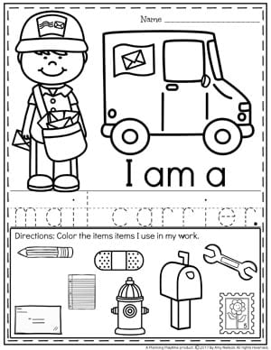 Community Helpers Worksheets - Mail Carrier