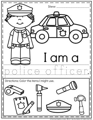 Community Helpers Worksheets - Police Officer