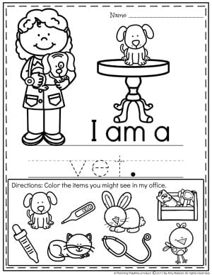 Community Helpers Worksheets - Vet