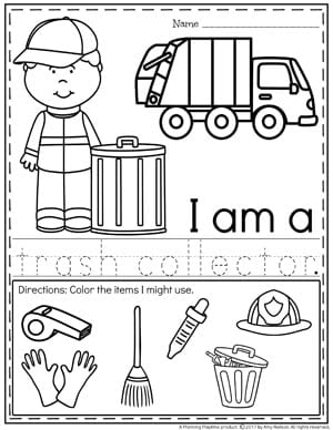 Community Helpers Worksheets - trash collector