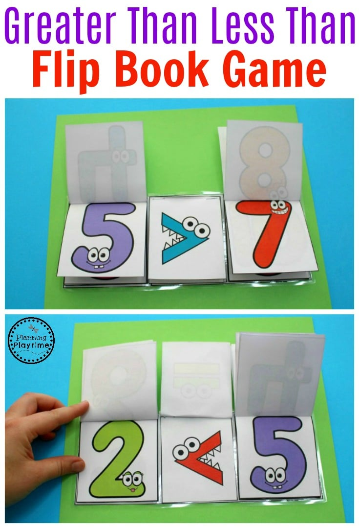 Comparing Numbers Flip Book Activity for Kids.