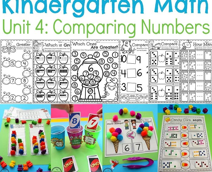 Comparing Numbers Worksheets and Centers for Kindergarten Math.