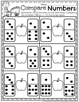 Comparing Numbers Worksheets for Kindergarten - Counting Dominoes II