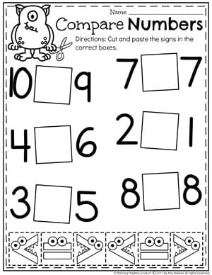 Free comparing numbers worksheet kindergarten