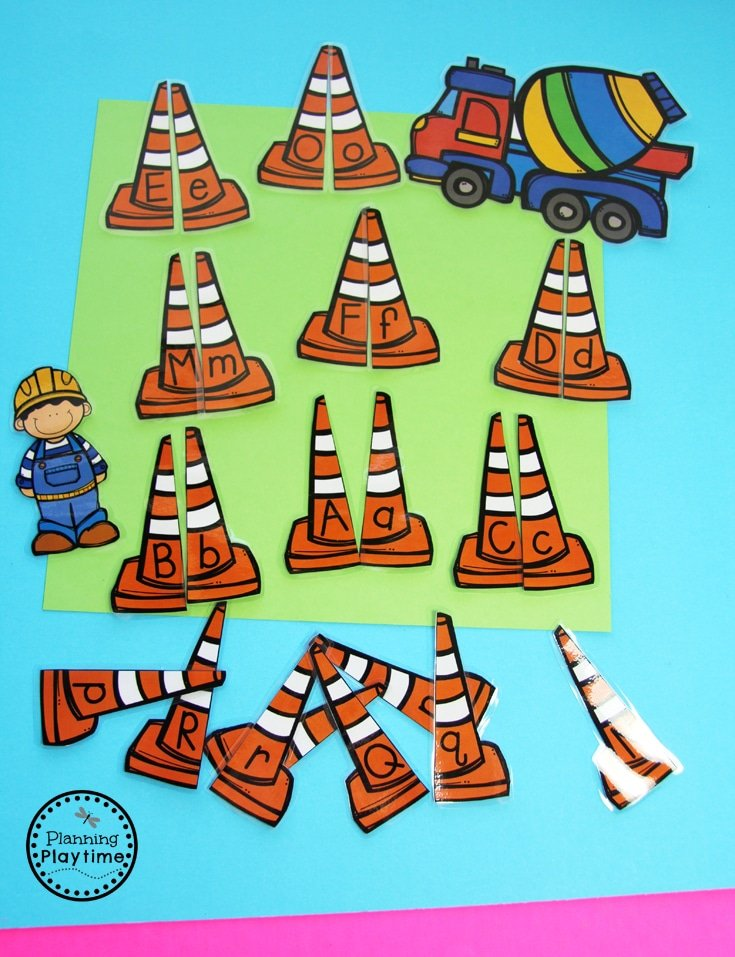Construction Worders Alphabet Match for Preschool