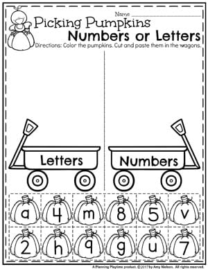 Fall Preschool Worksheets - Letter or Number Sort