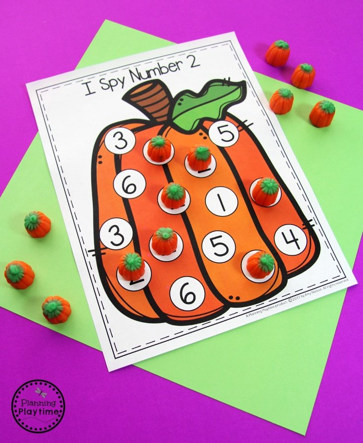 I SPY Pumpkin Activity for Preschool - Number Practice for kids.