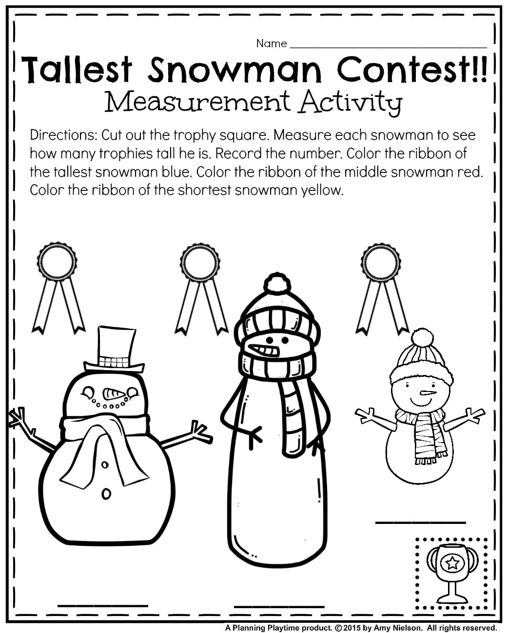January Kindergarten Measurement worksheet - Tallest snowman contest.
