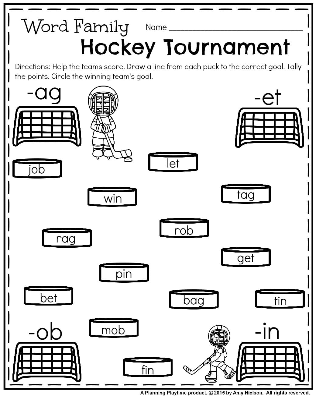 ... January Kindergarten worksheets - Word family Hockey Tournament.