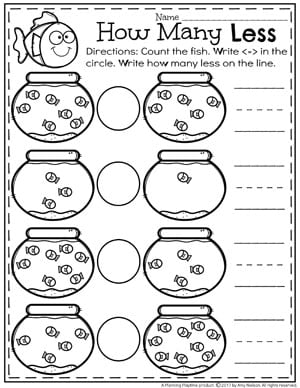 Less Than Comparing Numbers worksheet - Counting Fish