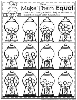 Make them Equal - Comparing Numbers Worksheets for kindergarten math with gumballs