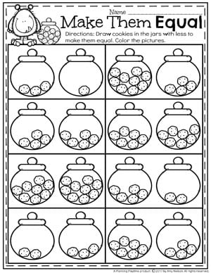 Make them Equal - Comparing Numbers Worksheets for kindergarten math.