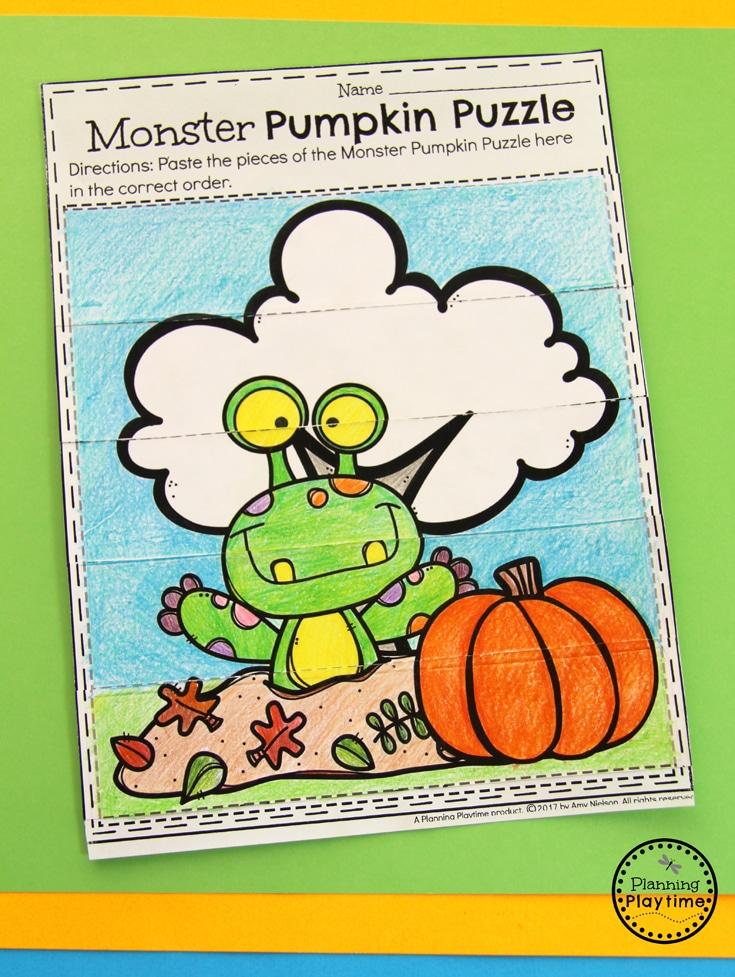 Monster Pumpkin Puzzle for Preschool